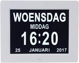Digitale Dementieklok - Kalenderklok - Wit_
