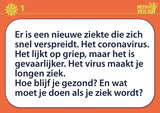 Meer dan veilig - Coronavirus Praat- en uitlegkaarten. Voorbeeld tekstzijde.