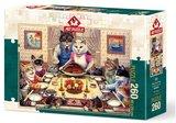 Puzzel - 260 XL stukjes - Katten familie aan tafel