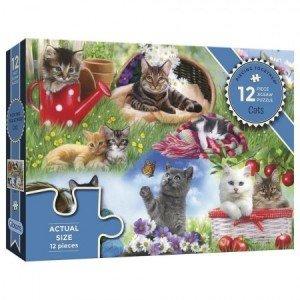 Puzzel - 12 extra grote puzzelstukken - Katten