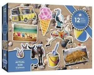 Puzzel - 12 extra grote puzzelstukken - Aan het strand