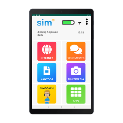 Seniorentablet - SimTab 4 senioren Tablet - Super eenvoudig en veilig