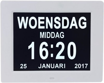 Digitale Dementieklok - Kalenderklok - Wit