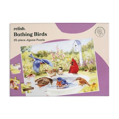 Puzzel - Badende Vogels - 35 puzzelstukken- Jigsaw Puzzles