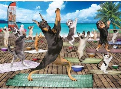 Puzzel - 500 extra grote puzzelstukken - Honden Yoga