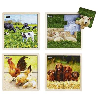 *Puzzel - Combipakket 4 Puzzels - 4 XXL stukjes - Dierenfamilie