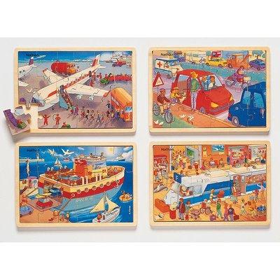 *Puzzel - Combipakket 4 puzzels - 18 XXL en 24 XL stukjes - Transport