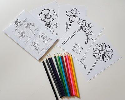 Bloem(wens)kaarten - om zelf in te kleuren