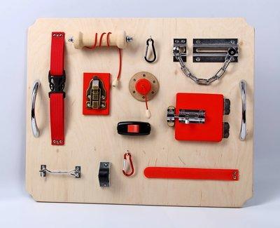 Activiteitenplank - rood metaal - XL