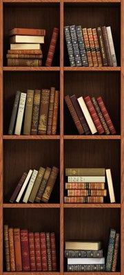 Deursticker boekenkast donkerbruin