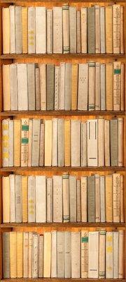 Deursticker boekenkast beige
