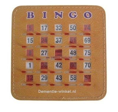 Bingo schuifplank 1-75 - bruin (set van 10 stuks)