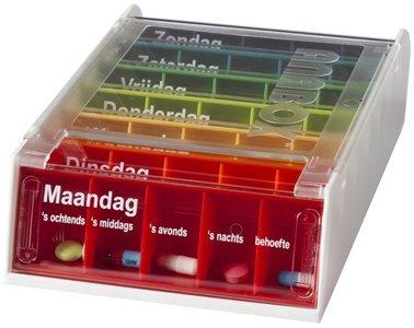 Medicijnbox met 7 dagboxen voor iedere dag van de week. Iedere dagbox heeft vijf vakken.