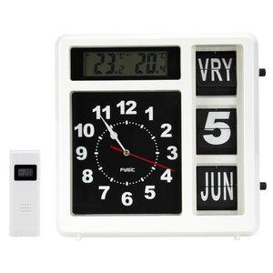 Jumbo klok - Dag, datum en tijd - Wit (met weerstation)
