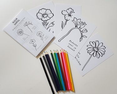 Bloem (wens) kaarten - om zelf in te kleuren